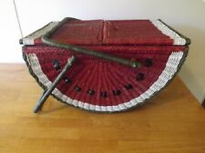 Vintage Wicker Basket Picnic -Basket Shaped Watermelon Large Display Collectible