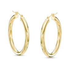 Womens 14k SOLID Yellow Gold Polished Round Tube Hoop Earrings 3.00mm x 30mm