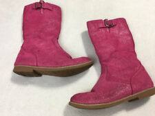 Hanna Andersson Big Kid 4 Carine Pink Leather Glitter Tall Boots Girls