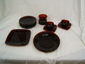 Lot of 18 Pieces Mid Century Anchor Hocking Ruby Red Dishes, Cups & Saucers