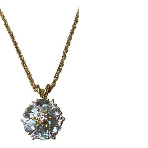 14K Yellow Gold Plated Blue Topaz Cluster Pendant Necklace