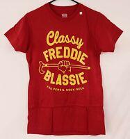 CLASSY FREDDIE BLASSIE Pencil Neck Geek WWE Wrestling Legends Red T-Shirt Mens S