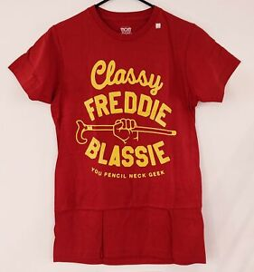 CLASSY FREDDIE BLASSIE Pencil Neck Geek WWE Wrestling Legends Red T-Shirt Mens S