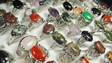 5pcs wholesale jewelry lots  100% Nature stone silver plated rings free shipping