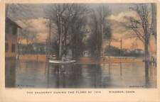 WINDSOR, CT ~ CAUSWAY DURING 1913 FLOOD, HAND-COLORED ~ W. H. H. MASON ~ u. 1913