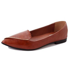 Womens Ballerinas Shoes Pointed Toe PU Leather Ballet Flats Plus Size Slip ON