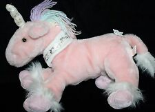 "Shalom Toy PINK Plush UNICORN 14"" Pastel Rainbow Yarn Mane Stuffed Bow Soft Toy"
