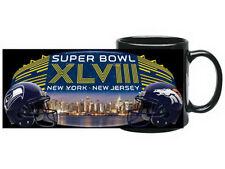 SUPER BOWL XLVIII  SEAHAWKS vs BRONCOS DUELING 2014 NYC CERAMIC 11oz COFFEE MUG
