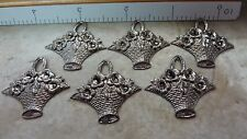 Plated brass findings stampings earring dangle FLOWER BASKETS  A163 DOLLHOUSE