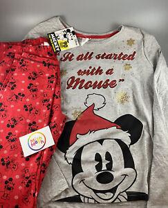 Ladies disney Mickey Mouse Christmas Xmas red trouser PJS Pyjamas Set Nightwear