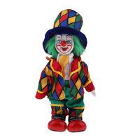 18cm Hand Painted Porcelain Clown Doll Figure Doll Halloween Decor Ornaments