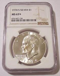 1974 S Eisenhower Silver Dollar Unc MS67+ NGC
