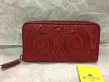 NWT ETRO Embroidered Leather Paisley Zip Wallet Red