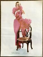 1967 Modess Sanitary Napkins Print Ad Woman in Pink Gown Boa Long White Gloves