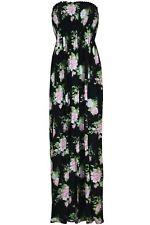 Womens Ladies Floral Summer Gathered Bandeau Boobtube Sheering Long Maxi Dress