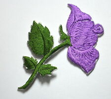 PURPLE ROSE BLOOM FLOWER Embroidered Sew Iron On Cloth Patch Badge APPLIQUE