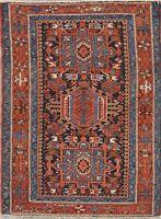 Antique Gharajeh Geometric Oriental Area Rug Wool Hand-Knotted Heriz Carpet 3x4