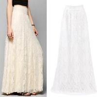 Women Double Lace Layer Dress Chiffon Pleated Long Maxi Elastic Waist Skirts !