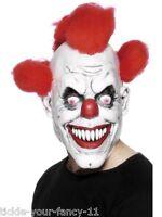 Unisex Clown 3/4 Clown Mask & Hair Halloween Horror Circus Fancy Dress Scary Fun