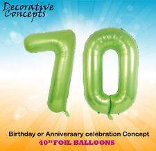 """Giant 70th Birthday Party 40"""" Foil Balloon Helium Decoration Age 70 Lime Green"""