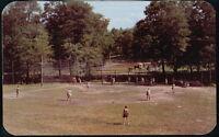 MILFORD PA Camp Log Tavern Pocono Adult Resort Softball Game Vintage Postcard