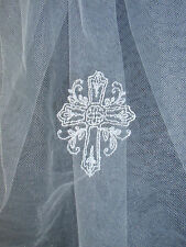 First Communion Veil with a Swirling Cross