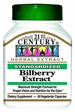 21st Century Bilberry Extract Vegetarian Capsules 60ct -FREE WORLDWIDE SHIPPING-