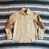 Ralph Lauren Petites Sz P/P Wool Zip Front Cardigan Shirt Jacket Elbow Patches