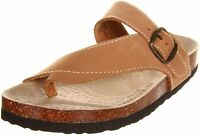 White Mountain Womens Carly Leather Open Toe Casual Slide, Jute, Size 7.0