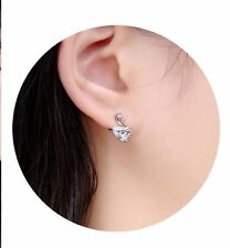 Pair of Platinum Plated Swan stud  Earrings