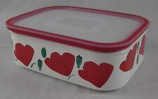 Tupperware A 150 Quadro Dose Box 500 ml Weiß / Rot mit Mohnblumen Blumen Neu OVP