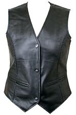 New Womens Leather Motorcycle 3 Snap Vest Biker Dress Sporty Casual Black Large