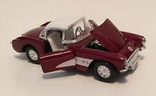 1957 Chevrolet Corvette Maroon & White Convertible 1:24 Pull Back Model SS5709