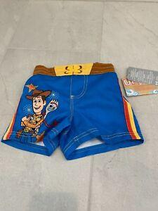 NWT Disney Store Woody Toy Story Swim Trunks 50+ UV Protection Boys SZ 5/6