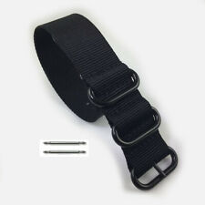 Heavy Duty Black Nylon Replacement Ballistic Military PVD Watch Band Strap