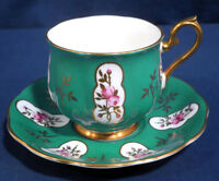 Royal Albert Bone China Green with Small Pink Roses Tea Cup and + Saucer Set