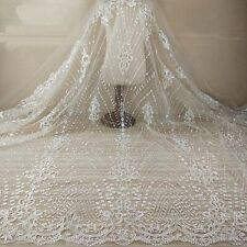 """1 Yard Retro Ivory Embroidery Tulle Mesh Lace Fabric For Bridal Dress 51"""" Width"""