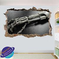 ROBOTIC HAND TERMINATOR WALL STICKER 3D SMASHED ROOM DECORATION DECAL MURAL YE7