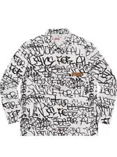 Supreme Comme Des Garcons CDG White Printed Canvas Chore Coat Justice For All