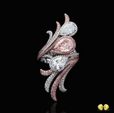 Fashion Women Jewelry 925 Silver Wedding Ring Pear Cut Pink Sapphire Ring Size 9