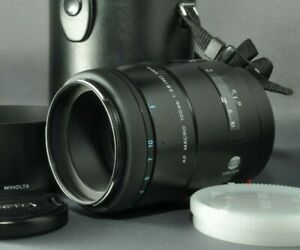 【NEAR MINT】MINOLTA NEW AF 100mm f/2.8 MACRO lens Caps, Hood, Case from JAPAN DHL
