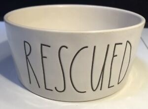 "Rae Dunn RESCUED Dog Dish Food Water Bowl Ceramic Magenta Line 6"" NWT"