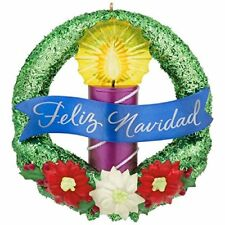 Hallmark 2017 La Luz de la Navidad Feliz Wreath Christmas Ornament