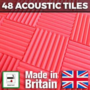 48 Red Acoustic Foam Tiles Studio Sound Treatment Panels For Podcasts Streamers