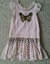 Next signature pink butterfly   sequin dress age 4 yrs in vgc as shown