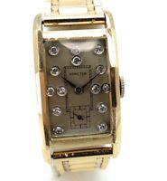 Vintage Hamilton 14K Yellow Gold & Diamond Dial Watch