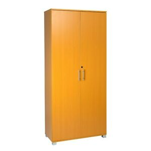Tall Beech 180cm Office Storage Cupboard Locking Bookcase Filing Cabinet