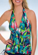 Caribbean Joe Swimwear The Bluff Ruffle Layered Halter Tankini Swim Top Swimsuit