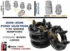 Set of 4pc Ford Mustang 5x4.5 {20MM} Wheel Spacers W/ 5pc Wheel Locks 14x1.5