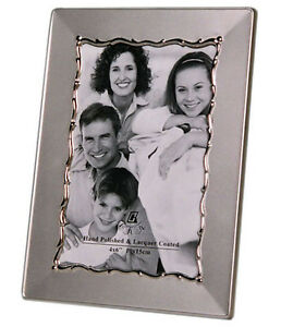 """Two Tone Silver Photo Picture Frame 4x6"""" Inches & 5x7"""" Inches - Matt & Shiny"""
